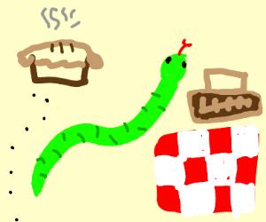Snake has a picnic