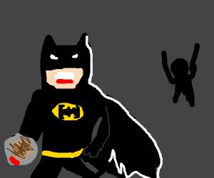batman stealing a mans hashbrowns