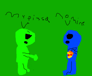 Aliens arguing over piece of pizza.