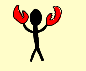 Man with crab pincers as hands