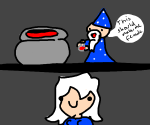A wizard wants to become female