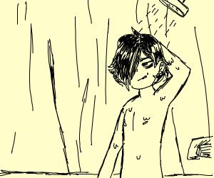 Emo taking a shower