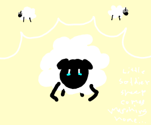 Sheep sad about sheep soldiers