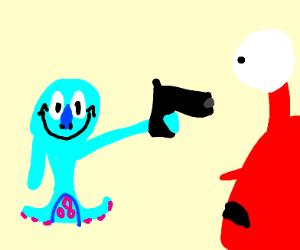 Squidward shoots Mr. Krabs