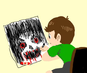 Kid draws scarry monster with blood