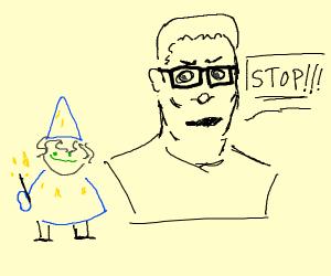 hank hill yells at magician