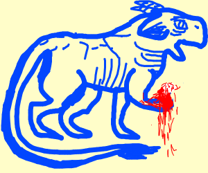injured blue animal