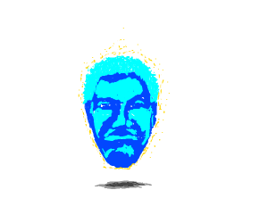 Inexplicable floating blue face