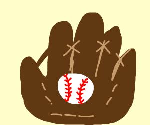 Mitt with baseball