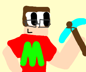 minecraft nerd with diamond pickaxe