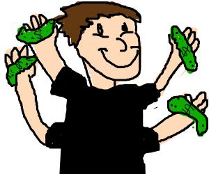 4 armed guy has money pickles