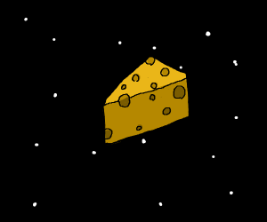 A block of Swiss cheese floating in space