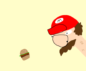 Mario hungry for a burger