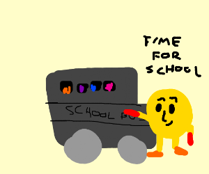 PacMan puts his kids on a school bus