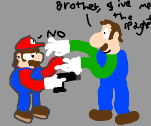 Mario holds Luigi at gunpoint to protectPasta