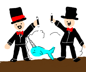 Two magicians summon narwhal