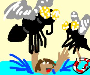 massive flies saving drowning dude