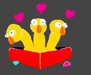 Yellow Elmos in valentines day