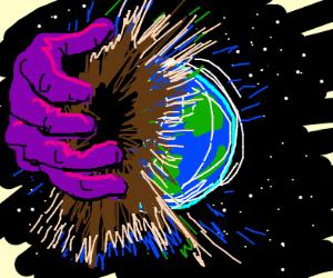 A magical hand destroys earth