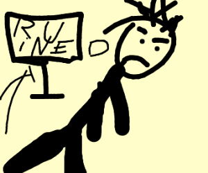 a stickman upset becausetheir game got ruined