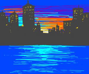 Newyork At Sunset