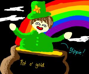 Leprechaun dipping in pot of gold