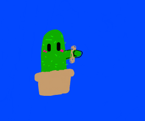 Cute blushing cactus holding a churro