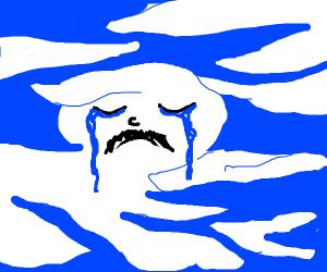 Sad man made of clouds