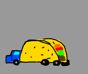 Person driving a literal taco truck