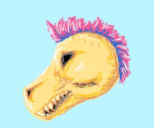 Dinosaur skull with Pink Mohawk