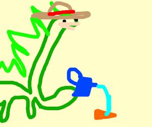dino farmer watering a dorito