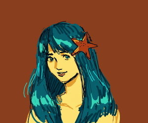 Girl with blue hair and starfish in hair