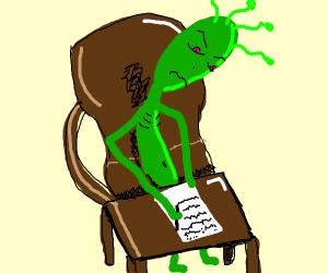 Green alien taking notes