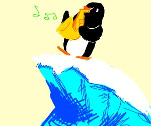 Epic Saxophone Penguin On an Iceberg