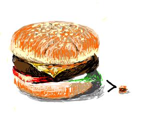 Big burger is bigger than small burger