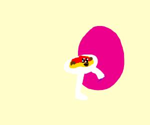 Spaghetti enters a pink portal