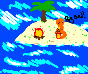 charmander very lonli on island (big sad)