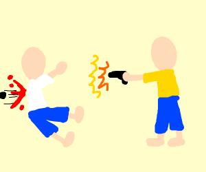 Yellow shirt man shoots white shirt man.