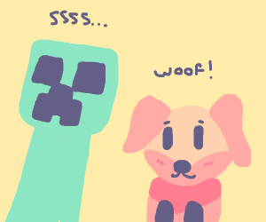 Creeper stood next to a dog/fox