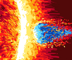 A blue meteor hits a star