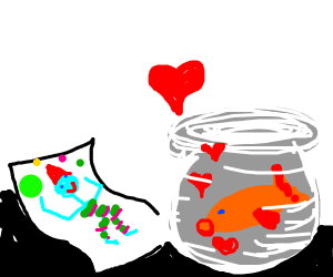 Goldfish enamored with drawing of a jester