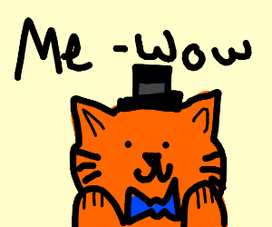 orange cat with blue bow-tie