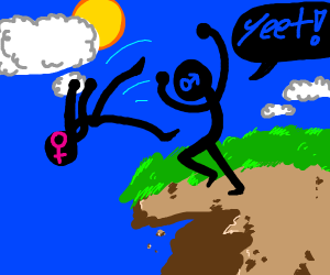Man throwing woman over a cliff