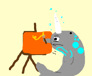 Narwhal drawing on an orange square