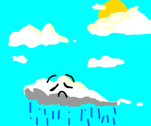 sad fluffy cloud sorrounded by other clouds