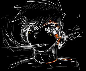 man smoking cigarette with his eye