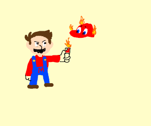 Mario burns Cappy