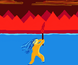 Lady w/ flame torch wading in water,mountains