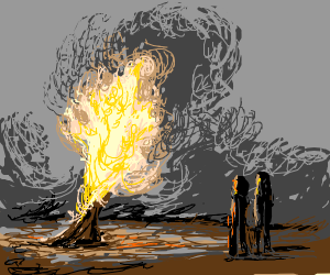 A girl and a guy watch a tree burn.