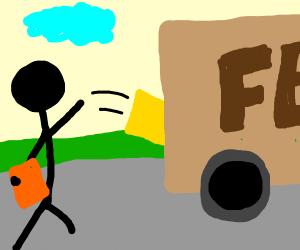 Stick figure throwing stuff in the Fedex truc